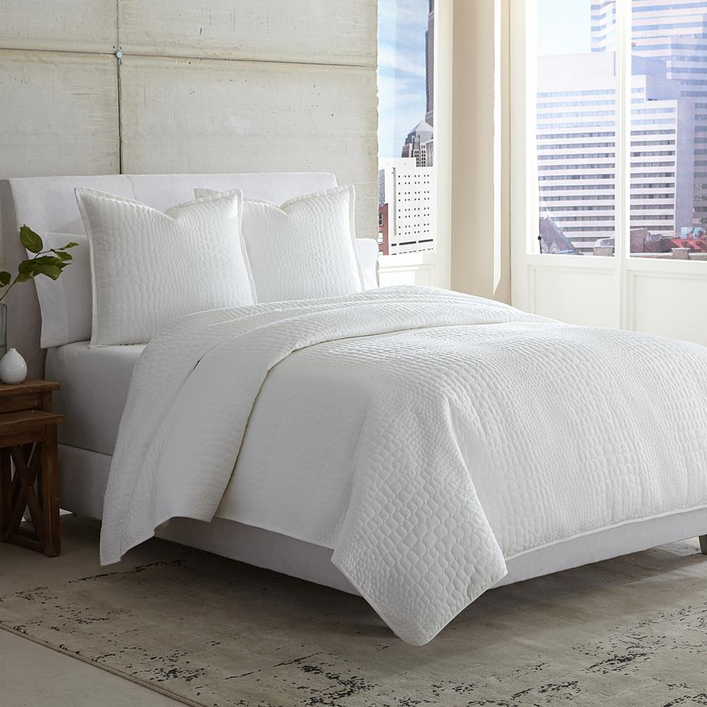 3 pc Queen Coverlet/Duvet/Quilt White