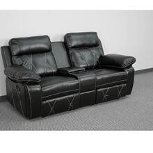 2-Seat Reclining Black Leather Theater Seating Unit with Straight Cup Holders