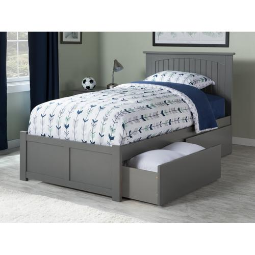 Nantucket Twin XL Flat Panel Foot Board with 2 Urban Bed Drawers Atlantic Grey