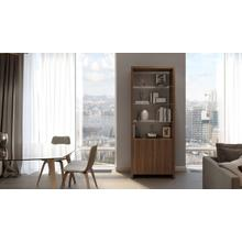 View Product - Linea 5802 Double Shelf in Natural Walnut