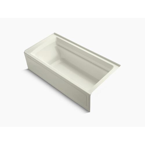 "Biscuit 72"" X 36"" Alcove Bath With Bask Heated Surface, Integral Apron, and Right-hand Drain"