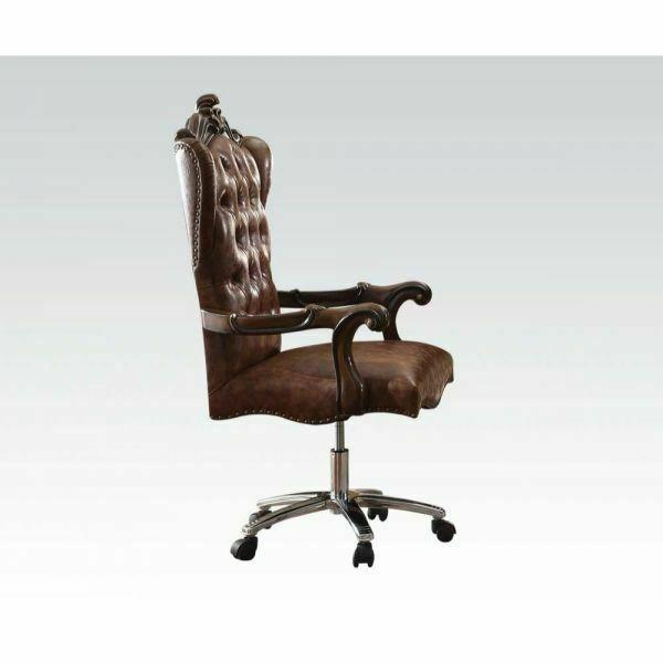 ACME Versailles Executive Chair w/Swivel & Lift - 92282 - 2-Tone Light Brown PU & Cherry Oak