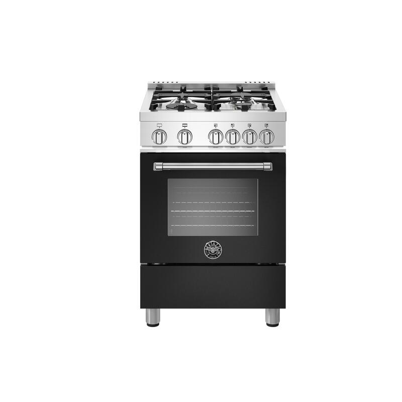 24 inch All Gas Range, 4 Burners Matt Black