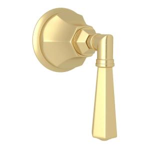 Palladian Trim for Volume Controls and Diverters - Satin Unlacquered Brass with Metal Lever Handle