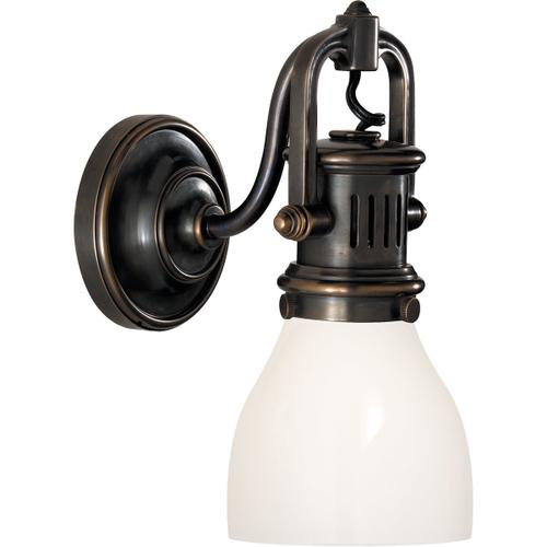 E. F. Chapman Yoke 1 Light 5 inch Bronze Suspended Wall Sconce Wall Light in White Glass