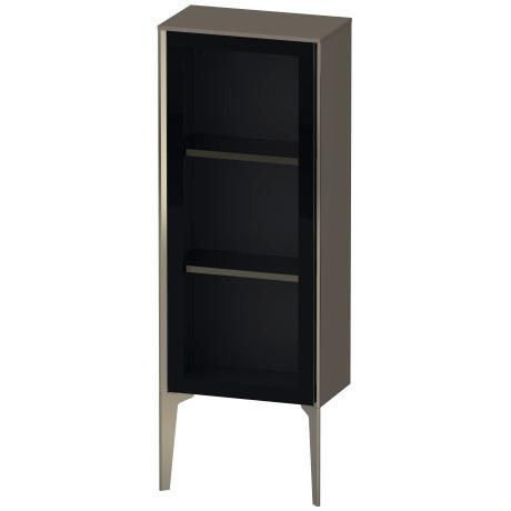Semi-tall Cabinet With Mirror Door Floorstanding, Flannel Gray High Gloss (lacquer)