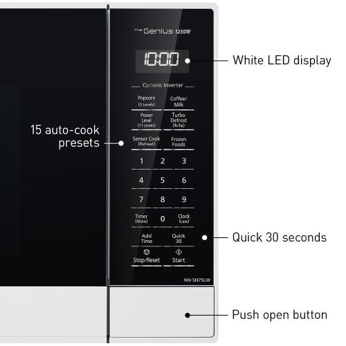 Panasonic - Panasonic 1.6 Cu. Ft. 1250W White Microwave Oven with Inverter and Genius Sensor Technology - NN-SN75LW