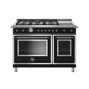 BERTAZZONI48 inch All-Gas Range 6 Brass Burner and Griddle Nero Matt