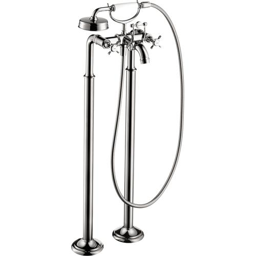 Chrome 2-Handle Freestanding Tub Filler Trim with Cross Handles and 1.8 GPM Handshower