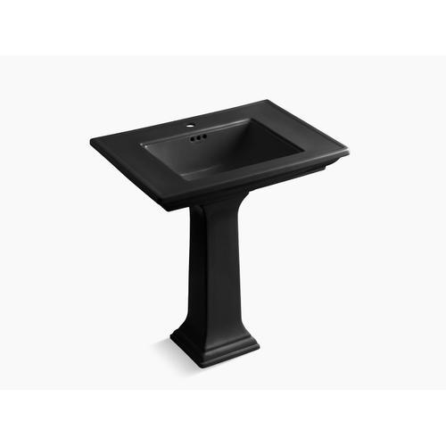 """Kohler - Black Black 30"""" Pedestal Bathroom Sink With Single Faucet Hole"""