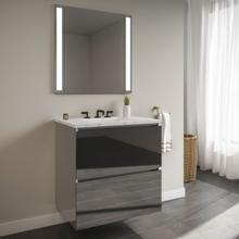 """View Product - Curated Cartesian 24"""" X 15"""" X 21"""" Two Drawer Vanity In Tinted Gray Mirror Glass With Slow-close Plumbing Drawer, Full Drawer and Engineered Stone 25"""" Vanity Top In Silestone Lyra"""