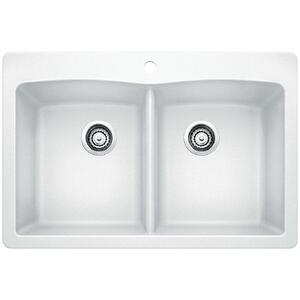 Diamond Equal Double Bowl With Ledge - White