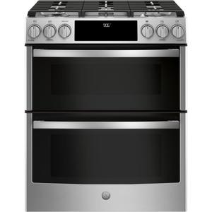 "GE ProfileGE PROFILEGE Profile™ 30"" Smart Slide-In Front-Control Gas Double Oven Convection Range"
