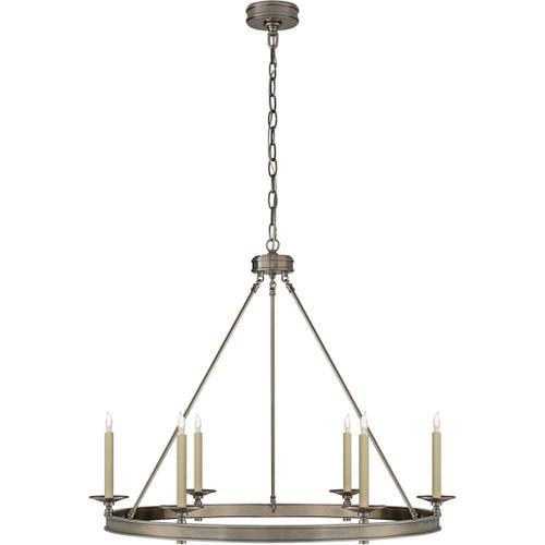 Visual Comfort - E. F. Chapman Launceton 6 Light 36 inch Antique Nickel Chandelier Ceiling Light