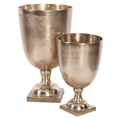 Howard Elliott - Raw Gold Aluminum Footed Chalice Vase, Small