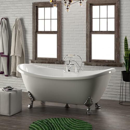"Monroe 69"" Acrylic Double Slipper Tub - Tap Deck - No Drillings / Polished Chrome"