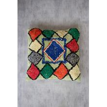 See Details - pillow \ green with multi-color diamonds