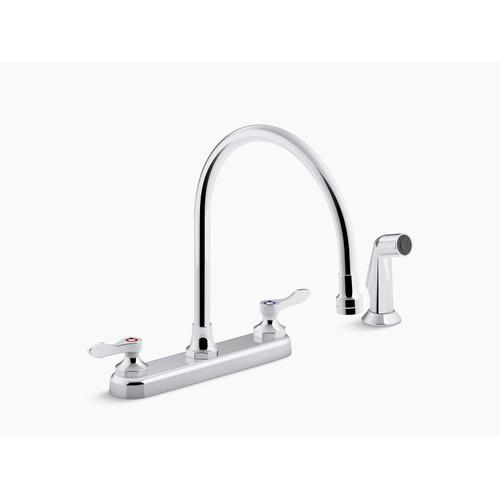 """Polished Chrome 1.5 Gpm Kitchen Sink Faucet With 9-5/16"""" Gooseneck Spout, Matching Finish Sidespray, Aerated Flow and Lever Handles"""