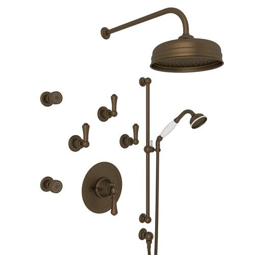 English Bronze GEORGIAN ERA THERMOSTATIC SHOWER PACKAGE with Georgian Era Solid Metal Lever