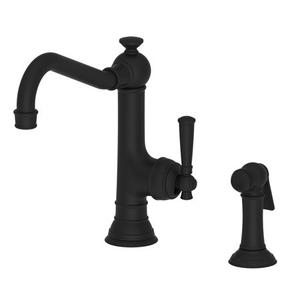 Flat Black Single Handle Kitchen Faucet with Side Spray