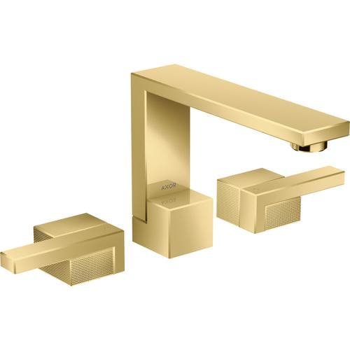 AXOR - Polished Gold Optic Widespread Faucet 130 - Diamond Cut, 1.2 GPM