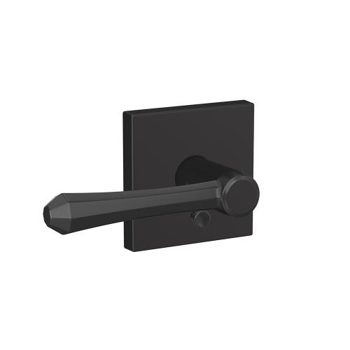 Custom Dempsey Lever with Collins Trim Hall-Closet and Bed-Bath Lock - Matte Black
