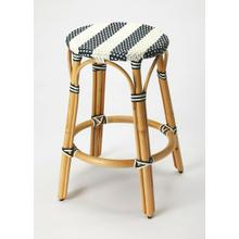 See Details - Evoking images of sidewalk tables in the Cote d'Azur, counter stools like this will give your kitchen or patio the casual sophistication of a Mediterranean coastal bistro. Expertly crafted from thick bent rattan for superb durability, it features weather resistant woven plastic in a blue and white striped pattern. This backless counter stool is lightweight for easy mobility with comfort to make the space it's in a frequent gathering place.