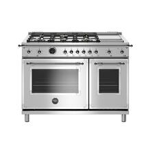 View Product - 48 inch Dual Fuel Range, 6 Brass Burners and Griddle, Electric Self Clean Oven Stainless Steel