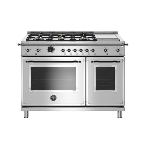 Gallery - 48 inch Dual Fuel Range, 6 Brass Burners and Griddle, Electric Self Clean Oven Stainless Steel