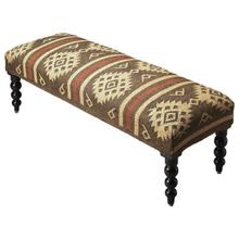 Bring home sophistication with the Navajo Jute Upholstered Bench. This beautiful bench has a comforting design that helps you to relax while you rest on it. The round legs and padded seat adds to its overall beauty and functionality; this piece is sturdy and durable. This traditional bench is a beautiful inclusion for any home. The legs hve a rounded effect with curved design and structure. You can add this beautiful piece in the entryway, hallway, bedroom or any other room and accentuate your decor with its beauty.