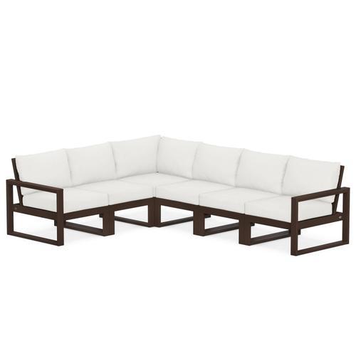 Polywood Furnishings - EDGE 6-Piece Modular Deep Seating Set in Mahogany / Natural Linen
