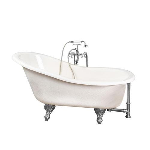 """Estelle 60"""" Acrylic Slipper Tub Kit in Bisque - Polished Chrome Accessories"""