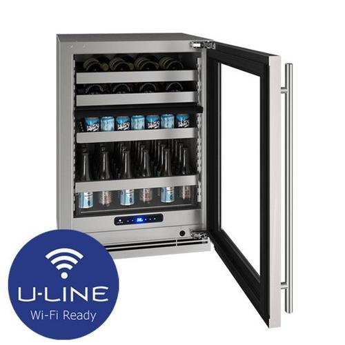 "Hbd524 24"" Dual-zone Beverage Center With Stainless Frame Finish and Right-hand Hinge Door Swing (115 V/60 Hz Volts /60 Hz Hz)"