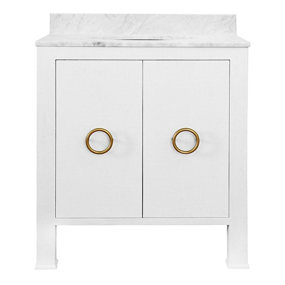 Bath Vanity In Textured White Linen With Antique Brass Hardware, White Marble Top, and Porcelain Sink