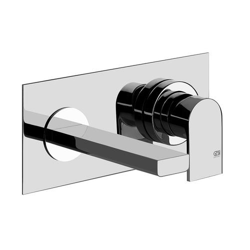 "TRIM PARTS ONLY Wall-mounted washbasin mixer trim Spout projection 5-7/16"" Drain not included - See DRAINS section Requires i n-wall rough valve 26697 Max flow rate 1"