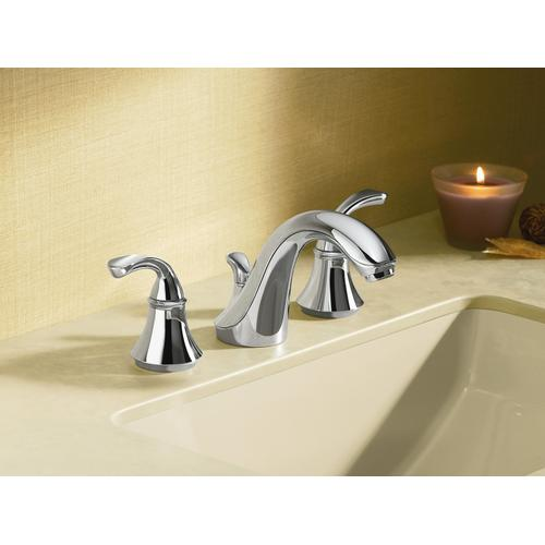 Polished Chrome Widespread Commercial Bathroom Sink Faucet With Sculpted Lever Handles, Metal Drain, Red/blue Indexing and Vandal-resistant Aerator