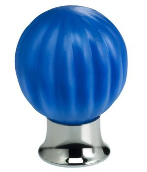 Cabinet Knob in Satin Azure Glass with US26 (Polished Chrome) Base Product Image