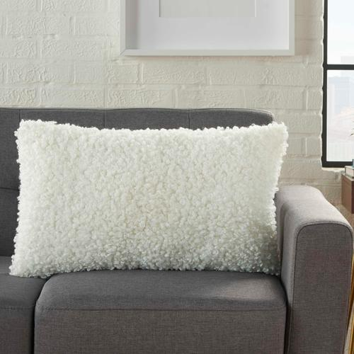 "Faux Fur Fl200 Ivory 14"" X 24"" Lumbar Pillow"