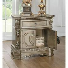 ACME Northville Nightstand w/Wooden Top - 26935 - Antique Silver