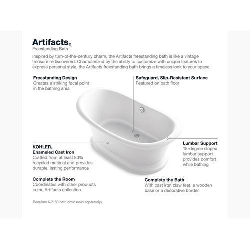 """White 66"""" X 33"""" Freestanding Bath With White Exterior"""
