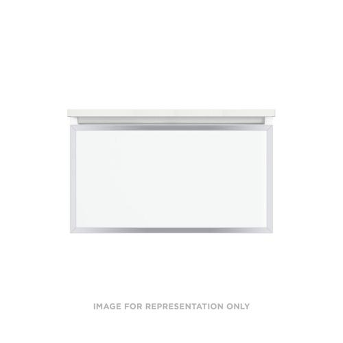 """Profiles 30-1/8"""" X 15"""" X 21-3/4"""" Modular Vanity In Satin White With Chrome Finish and Slow-close Plumbing Drawer"""