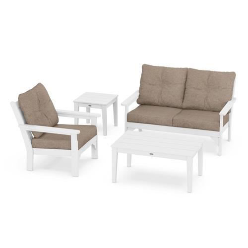 Vineyard 4-Piece Deep Seating Set in White / Spiced Burlap