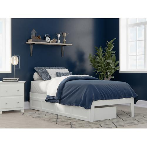 Atlantic Furniture - Colorado Twin Extra Long Bed with USB Turbo Charger and 2 Extra Long Drawers in White