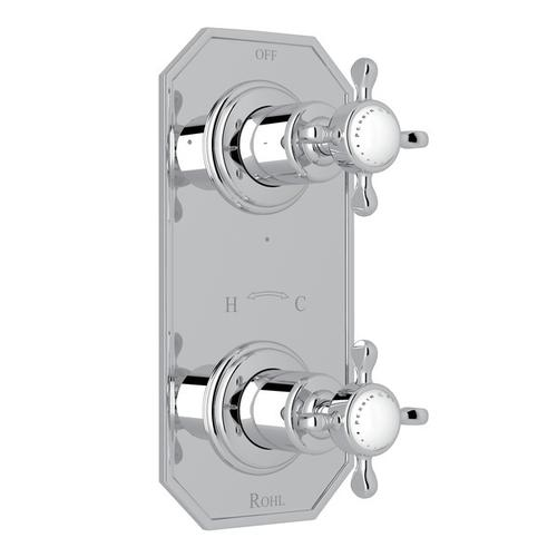 """Polished Chrome Perrin & Rowe Edwardian 1/2"""" Thermostatic/Diverter Control Trim with Edwardian Cross Handle"""