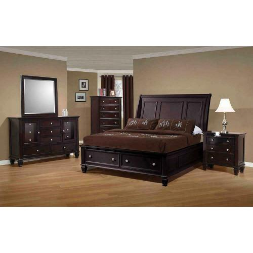 Sandy Beach Cappuccino California King Sleigh Bed With Footboard Storage