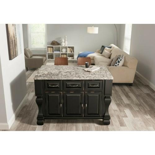 "52-5/8"" x 32-3/8"" x 35-1/4"" Furniture style kitchen island with Distressed Black finish."