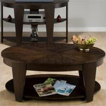 View Product - Oval Cocktail Table W/ Walnut Veneer Inlay, Shelf and Casters