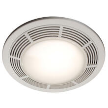 Broan® Ventilation Fan w/ Light and Night Light, Round White Grille with Glass Lens, 100 CFM