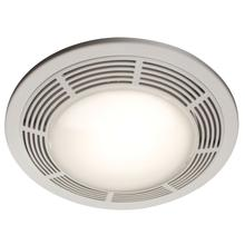 Broan ® Ventilation Fan w/ Light, Round White Grille with Glass Lens, 100 CFM