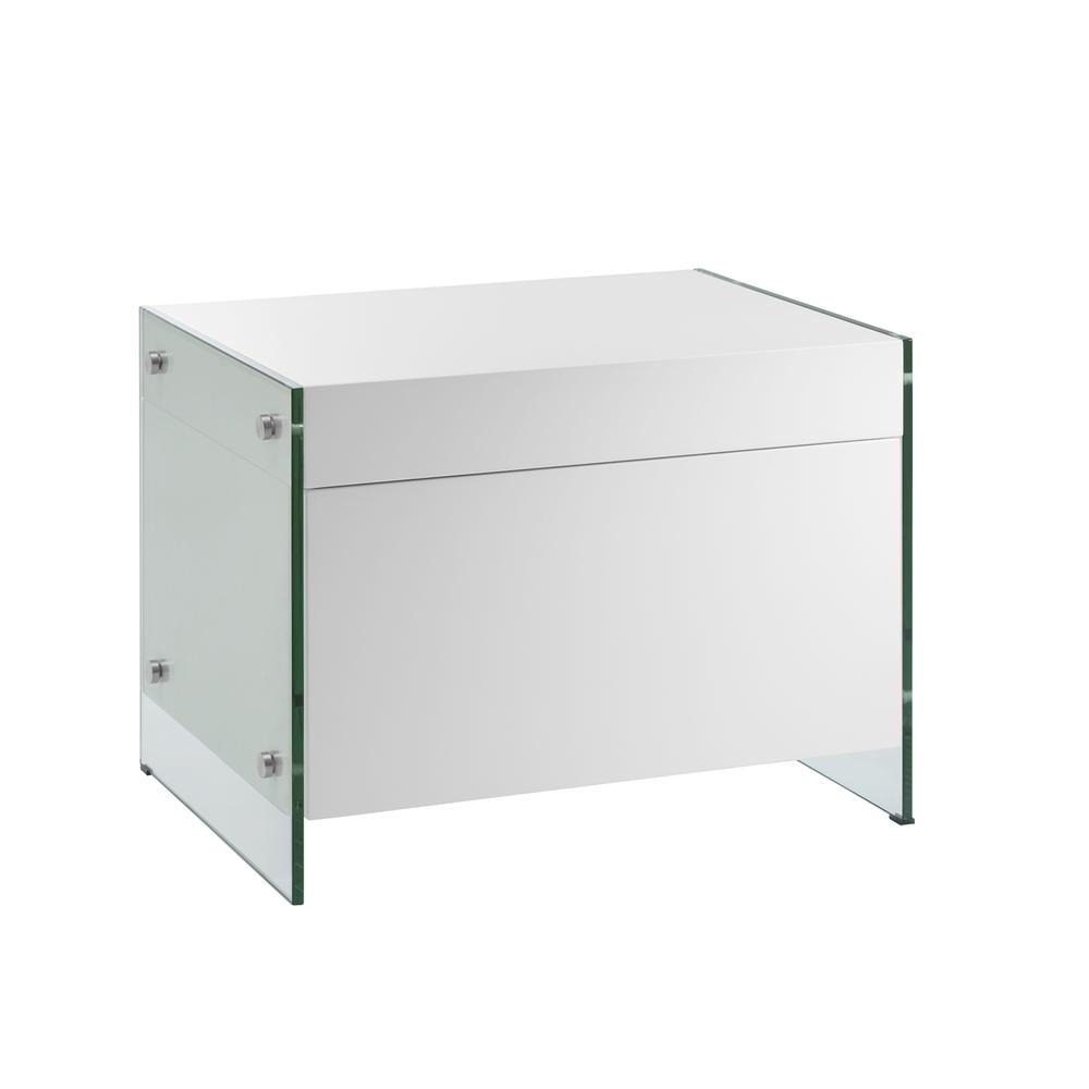 The Il Vetro Nightstand In High Gloss White Lacquer With Glass